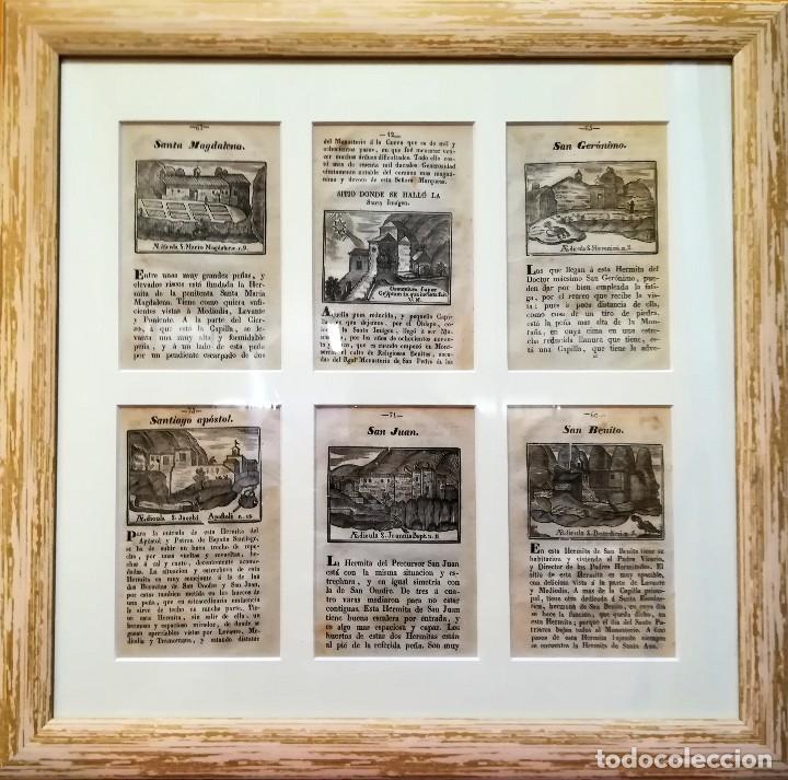 COLECCION 6 GRABADOS ORIGINALES,SIGLO XVIII,HERMITA MONTAÑA VIRGEN DE MONTSERRAT,CATALUÑA,MUY RAROS (Arte - Arte Religioso - Grabados)