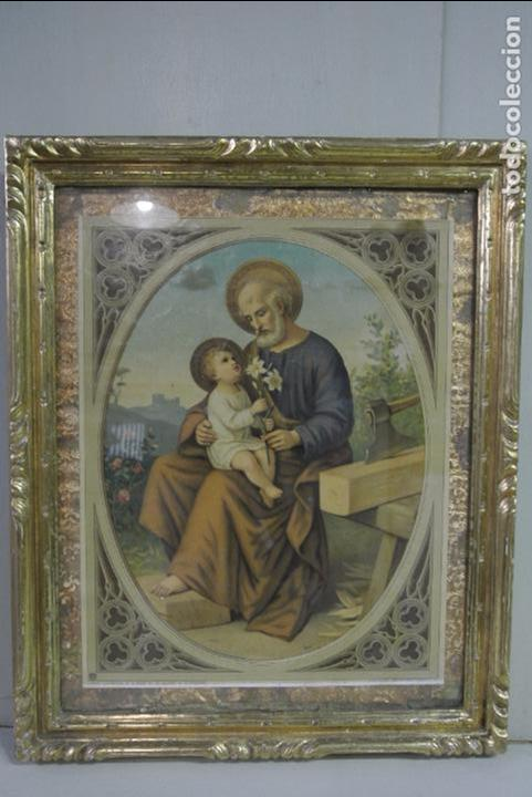 ANTIGUA LITOGRAFIA ENMARCADA. SAN JOSÉ Y EL NIÑO JESÚS (Arte - Arte Religioso - Litografías)