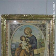 Arte: ANTIGUA LITOGRAFIA ENMARCADA. SAN JOSÉ Y EL NIÑO JESÚS. Lote 100973083