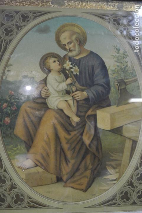 Arte: Antigua litografia enmarcada. San José y el niño Jesús - Foto 2 - 100973083