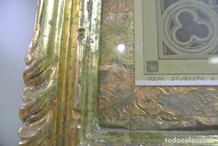 Arte: Antigua litografia enmarcada. San José y el niño Jesús - Foto 6 - 100973083