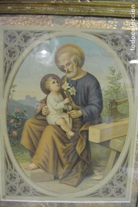 Arte: Antigua litografia enmarcada. San José y el niño Jesús - Foto 8 - 100973083