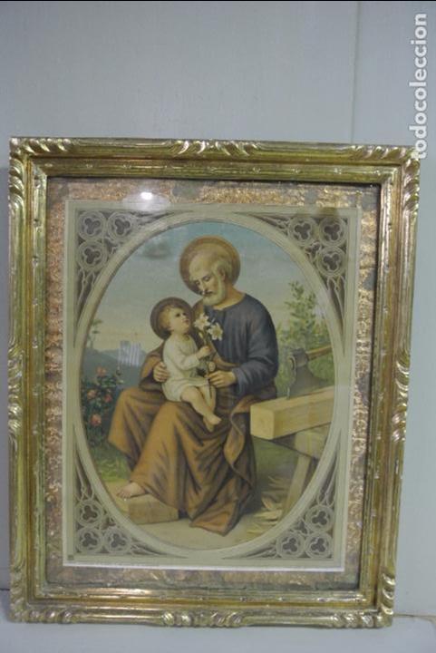 Arte: Antigua litografia enmarcada. San José y el niño Jesús - Foto 11 - 100973083