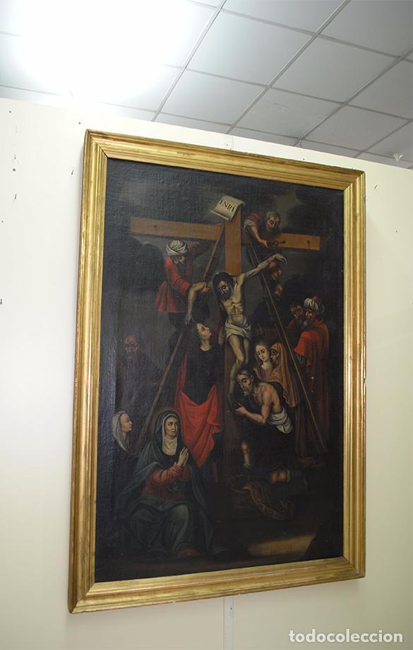 ÓLEO SOBRE LIENZO SIGLO XIX - EL DESCENDIMIENTO DE JESÚS (Arte - Arte Religioso - Pintura Religiosa - Oleo)