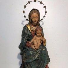 Arte: VIRGEN CON NIÑO JESUS DE ESTUCO POLICROMADO ANTIGUA. 39CM.. Lote 101063643