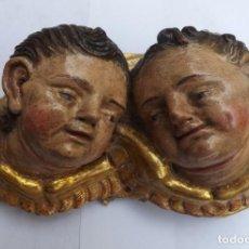 Arte: TALLA ANTIGUA POLICROMADA. TALLA QUERUBINES SIGLO XVIII. ARTE RELIGIOSO.. Lote 101133631