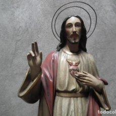 Arte: JESUCRISTO TALLA MADERA SAN JOSE SAGRADO CORAZON 82CM. Lote 101213831