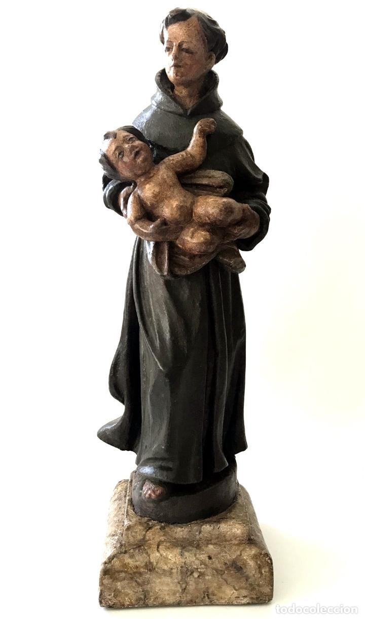 Arte: TALLA EN MADERA DE SAN ANTONIO DE PADUA - S. XVIII - Foto 7 - 101291175