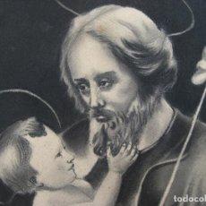 Arte: PRECIOSA PINTURA AL CARBONCILLO ANTIGUA RELIGIOSA NIÑO JESUS Y SAN JOSE. Lote 101322787