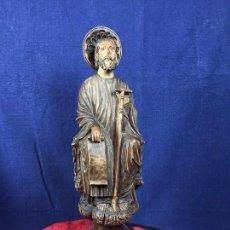 talla escultura madera boj santiago apostol iacobus 1/2 s xx base onix 15x15 42cm alto