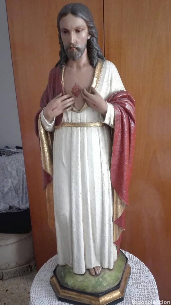 ESCULTURA SAGRADO CORAZÓN DE JESÚS - GRAN TAMAÑO - (Arte - Arte Religioso - Escultura)