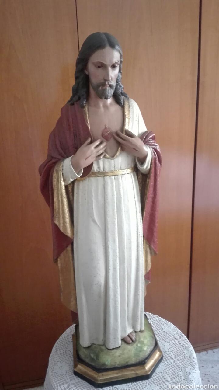 Arte: Escultura Sagrado Corazón de Jesús - Gran Tamaño - - Foto 12 - 101383359