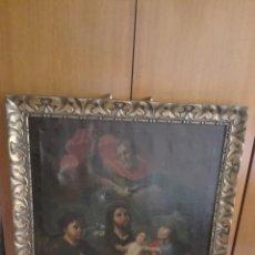 Arte: OLEO SOBRE LIENZO ADORACIÓN DEL NIÑO JESÚS XVIII - XIX. Lote 101393308