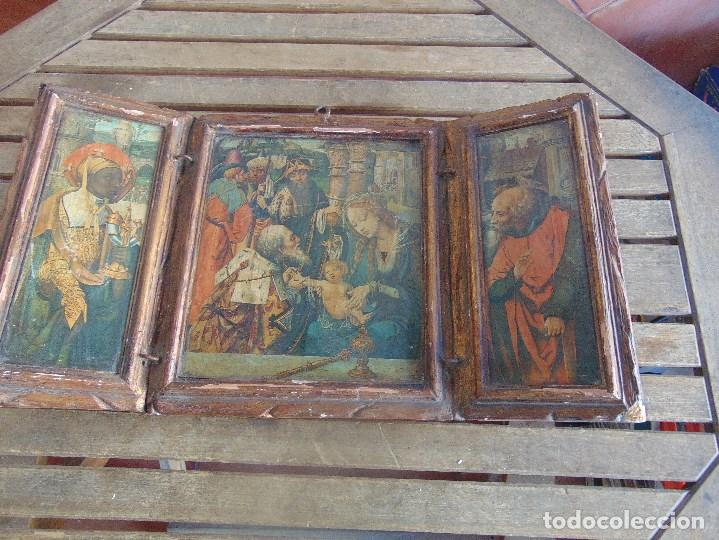 TRIPTICO RELIGIOSO EN MADERA POLICROMADA Y DORADA DEFECTOS (Arte - Arte Religioso - Trípticos)