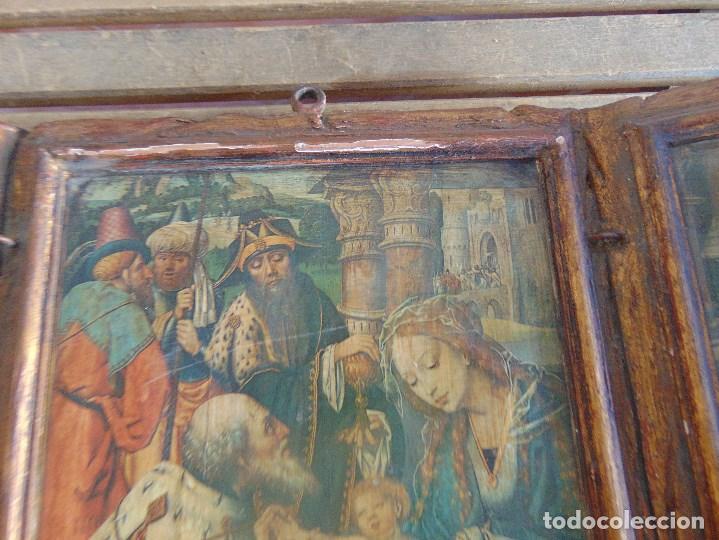 Arte: TRIPTICO RELIGIOSO EN MADERA POLICROMADA Y DORADA DEFECTOS - Foto 4 - 101489775