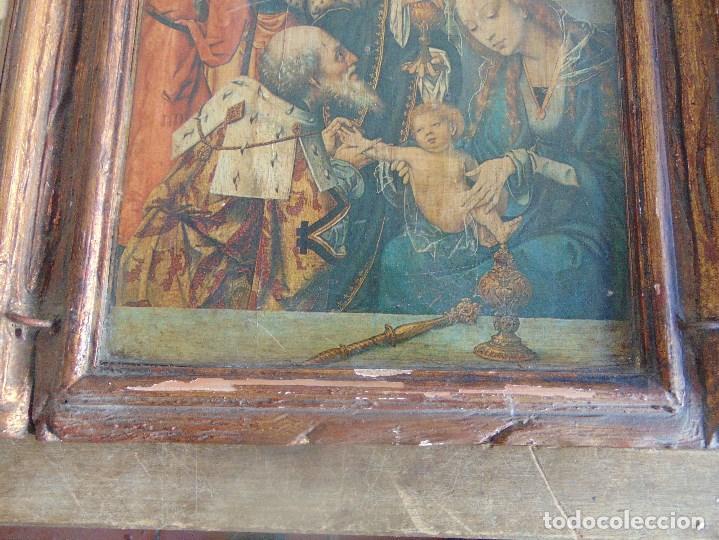 Arte: TRIPTICO RELIGIOSO EN MADERA POLICROMADA Y DORADA DEFECTOS - Foto 5 - 101489775