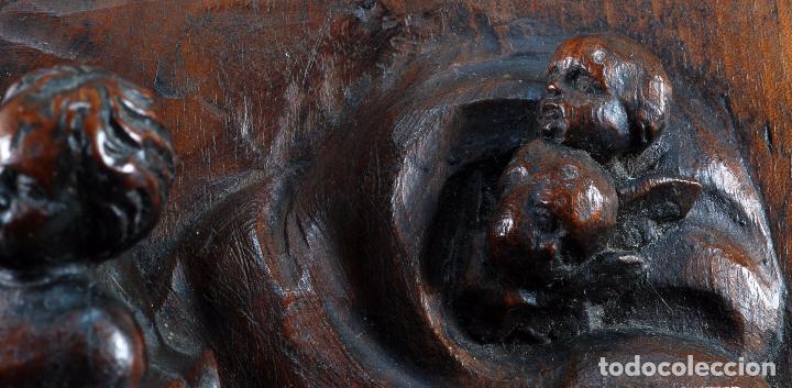 Arte: Alto relieve Virgen con niño y angeles madera tallada escuela italiana siglo XVII - Foto 7 - 101545243