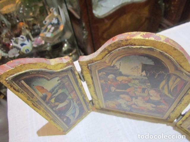 Arte: Viejo tríptico de madera con estampa de la Adoración de los Reyes Magos. Medida cerrado 14 x 19 cms, - Foto 2 - 101614767