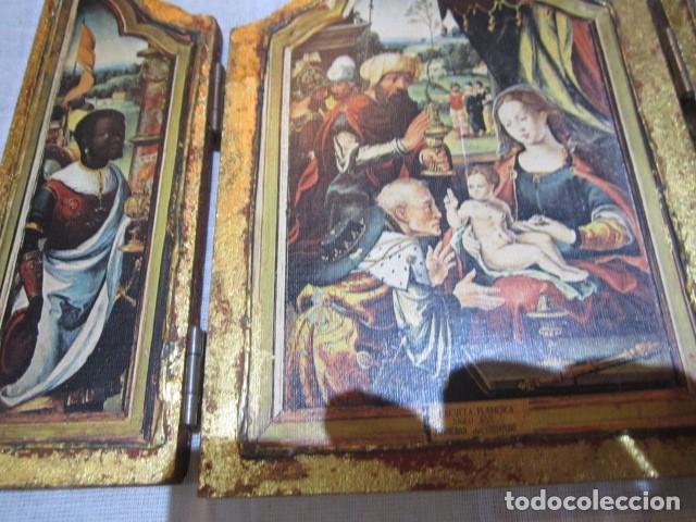 Arte: Viejo tríptico de madera con estampa de la Adoración de los Reyes Magos. Medida cerrado 14 x 19 cms, - Foto 4 - 101614767