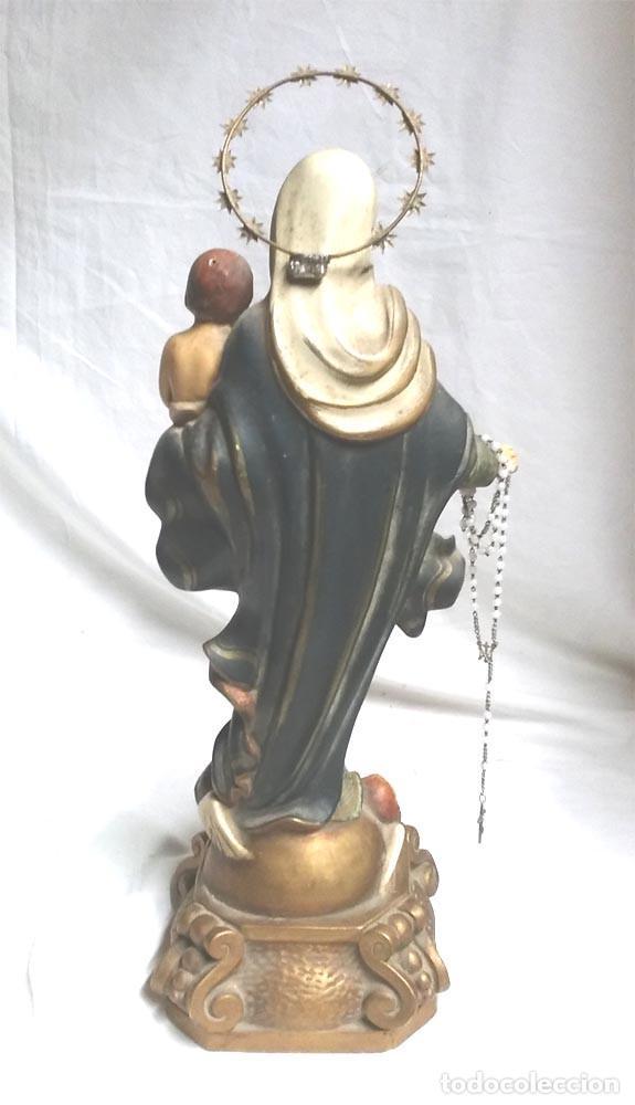 Arte: Virgen del Rosario años 20, estuco policromado, acabados primera Vda Pujol bcn. Med. 40 cm - Foto 5 - 101668095