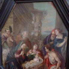 Kunst - Adoración de los pastores. Oleo sobre cobre. Escuela flamenca. S. XVII. Marco holandés original. - 101327051