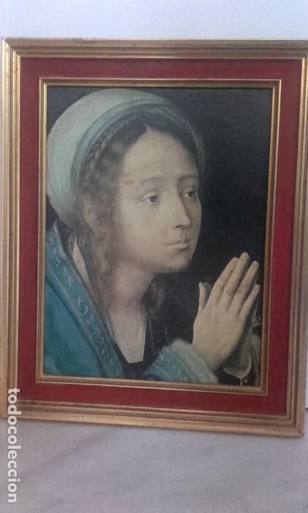 BELLÍSIMA VIRGEN ORANTE ELEGANTEMENTE ENMARCADA (Arte - Arte Religioso - Pintura Religiosa - Otros)