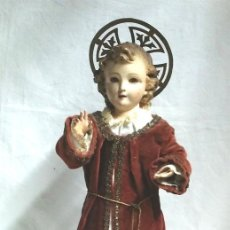 Arte - Niño Jesús S XIX, talla madera policromada denominados capipota, ojos cristal. Med. 48 cm - 146670984