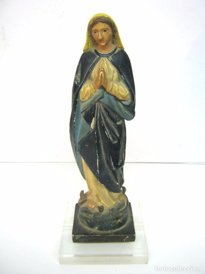 Arte: Antigua talla de madera - Virgen s.XIX - Foto 2 - 101847623