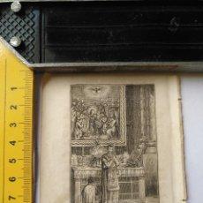 Arte: ANTIGUO GRABADO RELIGIOSO RECORTADO 1882 - GRABADOR ABADAL - ESCENA CEREMONIA PARTE DE LA MISA. Lote 101883947