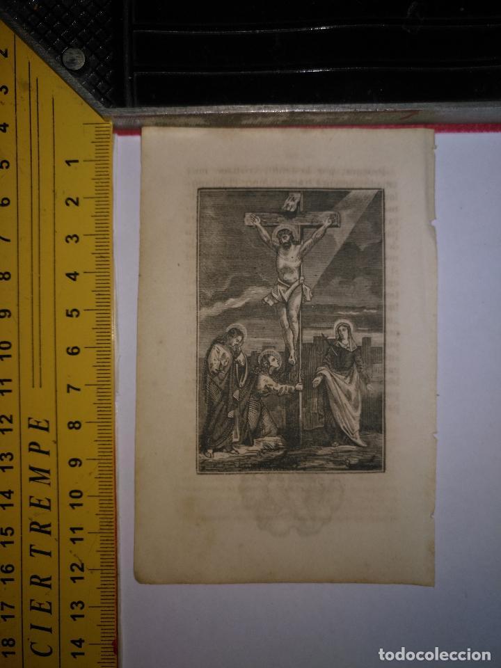ANTIGUO GRABADO RELIGIOSO 1882 - GRABADOR ABADAL - CRISTO VIRGEN SAN JUAN Y MAGDALENA - CALVARIO (Arte - Arte Religioso - Grabados)