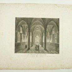 Arte: SALA CAPITULAR MONASTERIO DE POBLET, GRABADO PRINCIPIOS S.XIX. TAMAÑO PAPEL: 40X55 CM.. Lote 101926159