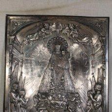 Arte: VIRGEN DE LOS DESAMPARADOS CUADRO RELIEVE EN CHAPA DE COBRE PLATEADO. Lote 102256831