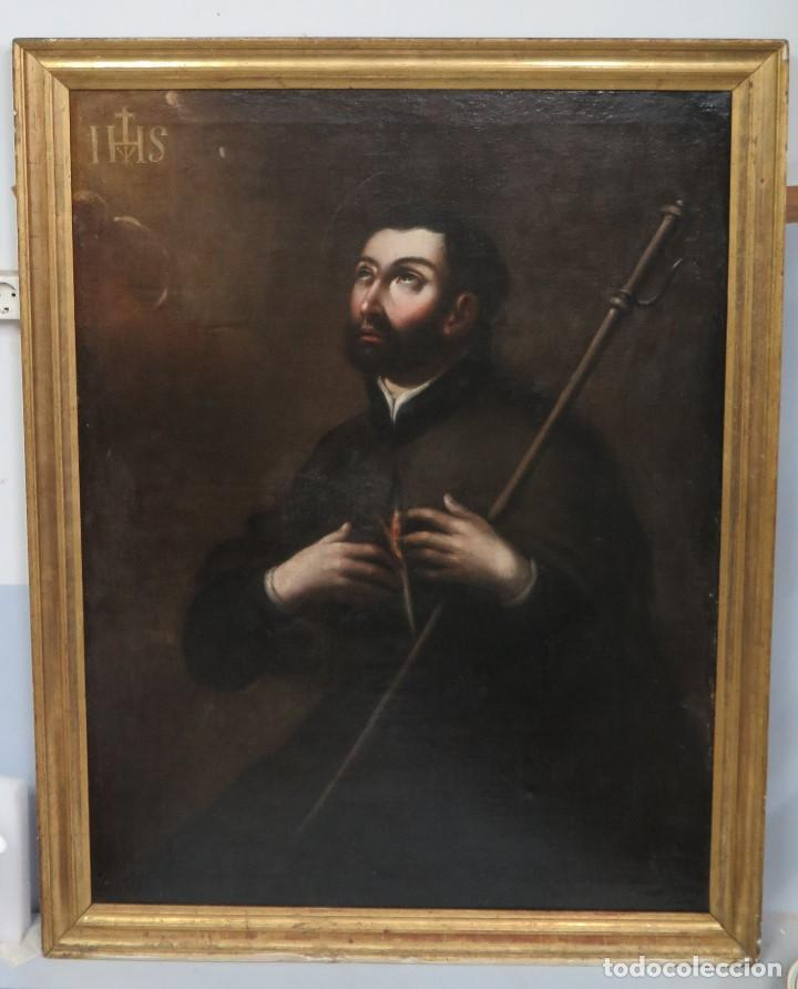 PRECIOSO SAN FRANCISCO JAVIER. OLEO S/ LIENZO. SIGLO XVII. MARCO EPOCA. ESCUELA ESPAÑOLA (Arte - Arte Religioso - Pintura Religiosa - Oleo)