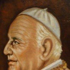 Arte: JUAN XXIII EXTRAORDINARIO OLEO FIRMADO 1960 SANTO PAPA BUENO RONCALLI IOANNES XXIII OIL PAINT. Lote 102391731