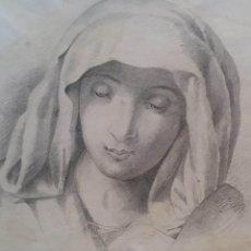 Arte: DIBUJO DE VIRGEN, FIRMADO Y FECHADO, 1871. Lote 129448608
