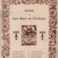 Arte: GOIGS DE SANT MARTÍ DE CERDANYA (S.F.). Lote 103195203
