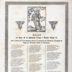 Arte: GOIGS EN LLAOR DE LA GLORIOSA SANTA FE QUE ES VENERA AL MONTSENY, FOGÀS DE MONTCLÚS (S. F.). Lote 103197067