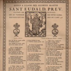 Arte: GOIGS A SANT EUDALD PATRÓ DE RIPOLL (IMP. MAIDEU, 1972). Lote 103202399