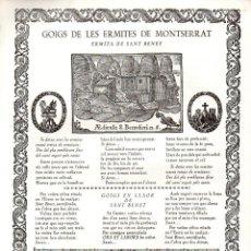 Arte: GOIGS DE LES ERMITES DE MONTSERRAT Nº 5 - SANT BENET (RIUS I VILA, 1968). Lote 103208907