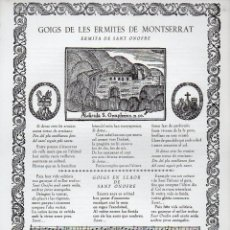 Arte: GOIGS DE LES ERMITES DE MONTSERRAT Nº 10 - SANT ONOFRE (RIUS I VILA, 1968). Lote 103209339