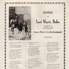 Arte: GOIGS A SANT MARTI DE SOBREMUNT (IMP. PORTAVELLA, VICH, 1953). Lote 103209907