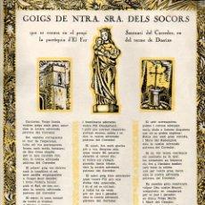 Arte: GOIGS DE NTRA. SRA. DELS SOCORS - CORREDOR DEL FAR (1967) . Lote 103210095
