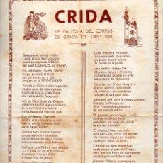 Arte: GOIGS CRIDA DE LA FESTA DEL CORPUS DE GRÀCIA DE L'ANY 1951 (IMP. VDA. L. GUINART PEIX). Lote 103210447