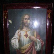 Arte: ESPECTACULAR LITOGRAFÍA DE JESUCRISTO DANDO LA BENDICIÓN CON MARCO MUY BONITO M: 114 X 87 X 2 CM.. Lote 103265739