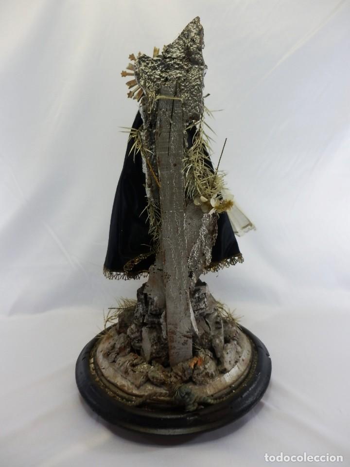 Arte: Excelente cap i pota, talla Virgen de los Dolores, Dolorosa, con fanal s XIX - Foto 4 - 103267343