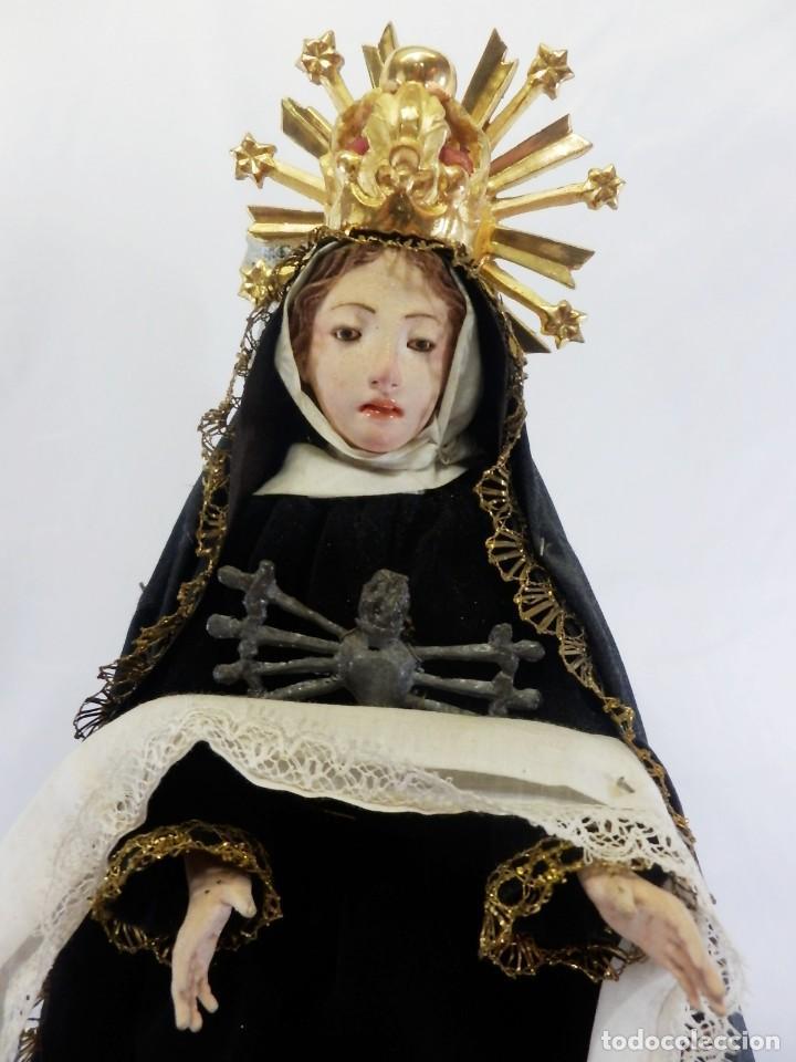 Arte: Excelente cap i pota, talla Virgen de los Dolores, Dolorosa, con fanal s XIX - Foto 7 - 103267343