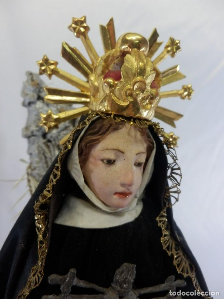 Arte: Excelente cap i pota, talla Virgen de los Dolores, Dolorosa, con fanal s XIX - Foto 8 - 103267343