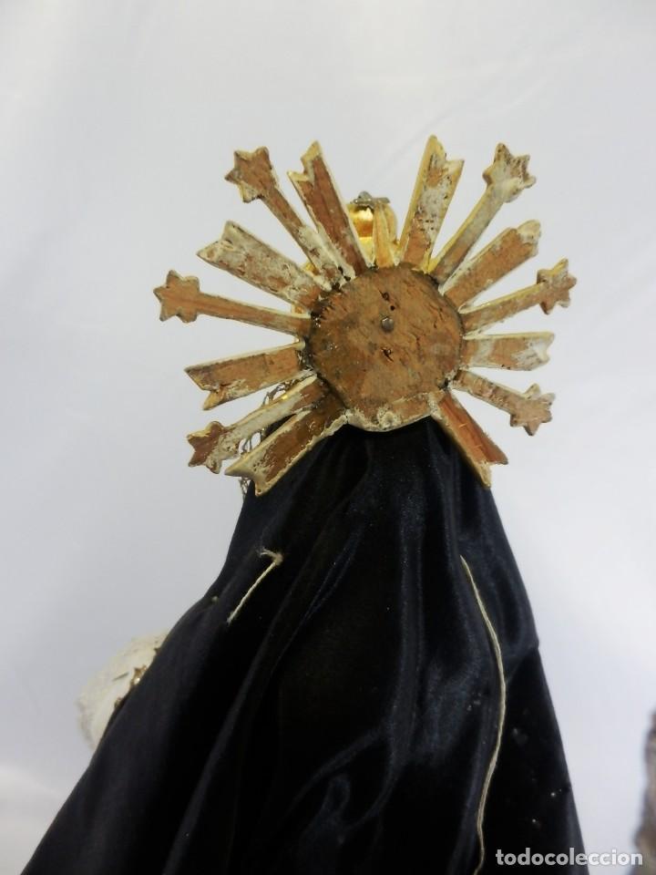 Arte: Excelente cap i pota, talla Virgen de los Dolores, Dolorosa, con fanal s XIX - Foto 23 - 103267343