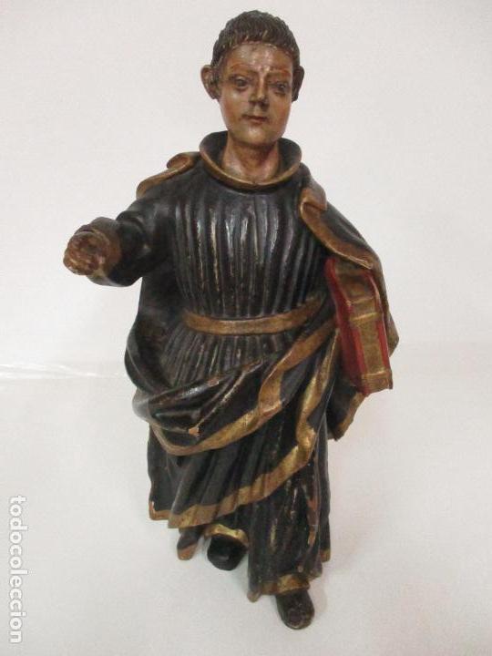 CURIOSA IMAGEN BARROCA - APÓSTOL SAN PABLO - TALLA DE MADERA, POLICROMADA - S. XVIII (Arte - Arte Religioso - Escultura)