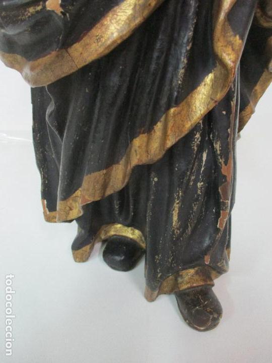 Arte: Curiosa Imagen Barroca - Apóstol San Pablo - Talla de Madera, Policromada - S. XVIII - Foto 3 - 103316375